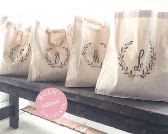 Laurel Tote Bag - Monogram Wreath Bag - Bridesmaid Tote Bag - Bridal Party Gifts - Bridesmaid Gifts - Canvas Tote Bag - Monogrammed Tote Bag