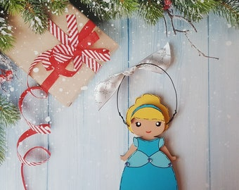 Disney Christmas Ornament, Cinderella, Princess, Elsa, Anna, Rapunzel, Jasmine, Snow White, Belle, Aurora, Moana, Tiana, Ariel, Merida
