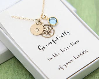 Compass Necklace, Gold Compass Necklace, Inspirational Necklace, Go Confidently, New Job, First Day, Gift for Her, Personalized Necklace