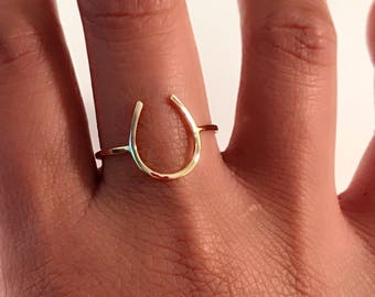 14k yellow gold horse shoe ring, 14k Horse Shoe Ring, 14k gold horse shoe ring, 14k U ring, 14k good luck ring, 14k thumb ring, 14k knuckle