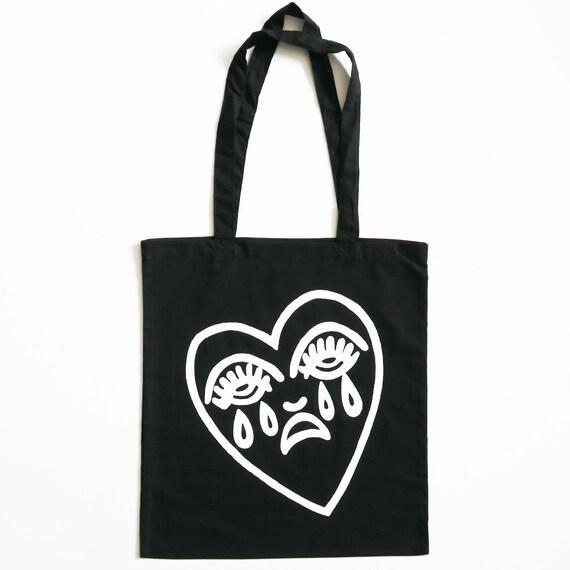 Crying Heart Tote Bag Screen Printed Cotton Canvas Shopper Bag