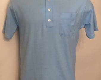 Vintage MENS 60's Haband white & blue polo shirt, size L, dead stock