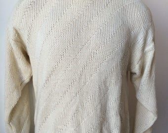 Vintage MENS Marshall Field's ivory crew neck diagonal striped sweater, size large