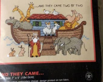 """1997 Dimensions Stamped Cross Stitch """"And They Came"""" Kit 6736 Noah's Ark"""