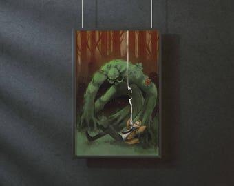 Constantine and Swamp Thing - original art print