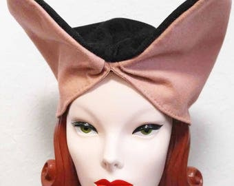 In-Stock: Vintage-Style WWII Two-Tone Felt Turban in Pink and Black