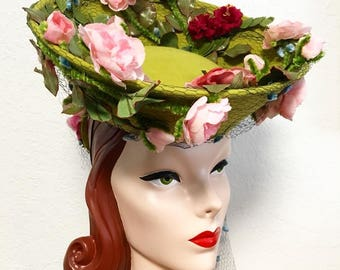 In-Stock: 1940's-Style Green Felt Tilt Hat with Pink Roses and Vintage Blue Chenille Dot Veiling