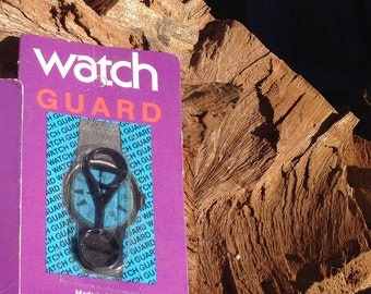 Vintage Black Watch Guard for Swatch Watch 1980s Old School Made USA Sealed Package Small Medium