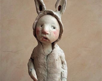 little rabbit sculpture, clay sculpture
