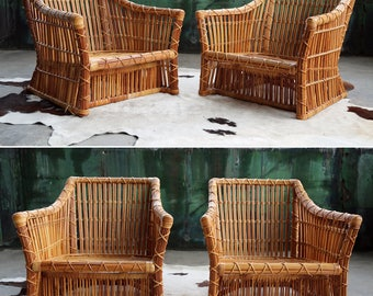 PAIR Post Modern Vintage Club Chairs By McGuire, Circa 1980 LIMITED Edition  Reed Rattan Hardwood