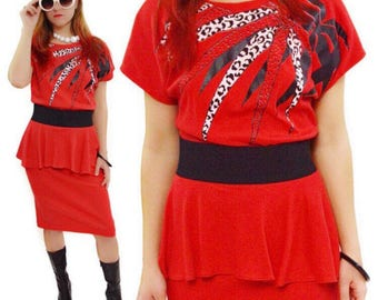 Vintage 80s Jenny Juniors New Wave Design Print Red Dress