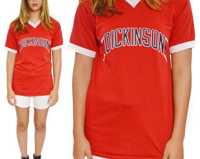 Vintage 80s Dickinson Soccer Style Tee Ringer T Shirt Sz L