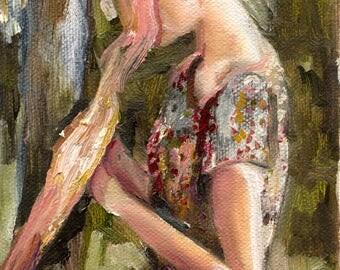 Absorb - Giclee Art Print, Wall Art, Figure Painting, Nature