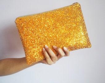 Burnt Orange Glitter Clutch Bag, Sparkly Clutch Bag, Halloween Accessories, Orange Party Bag, Burnt Orange Glitter, Sparkly Orange Bag,