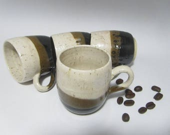 Small Coffee Cup, Espresso Cup, Coffee Cup, Pottery Cup, Double Espresso- Handmade Ceramics in Black, Brown and Beige
