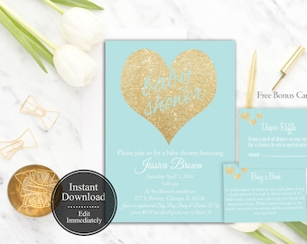 Printable Blue Baby Shower Invitation Template   Blue and Gold   Instant Download   Boy Baby Shower Invitation   Gold Glitter   Gold Blue