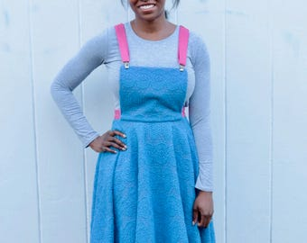 Blue embroidered pinafore dress UK size 10-12 - vintage blue pink broderie anglaise dungaree dress handmade by The Emperor's Old Clothes