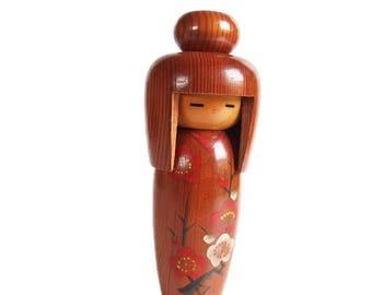 Gorgeous Woodgrain Vintage Kokeshi with Plum Blossom Kimono. Japanese Kokeshi Doll. Handmade Doll. Vintage Japanese. Kokeshi Dolls. Wood.