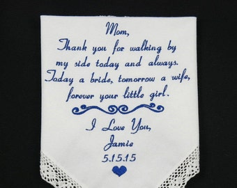 Wedding Gift for Mom of the Bride Embroidered Personalized Handkerchief for Mother of the Bride custom Hankerchief by Napa Embroidery