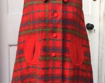 Cute Tartan 1960s wool blanket cape