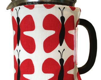 Cafetierre cosy 8 - 10 cups made in stunning Scandinavian Red Butterfly 'Fjaril' Fabric