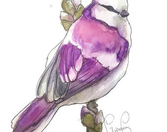 Purple Bird (original watercolor)