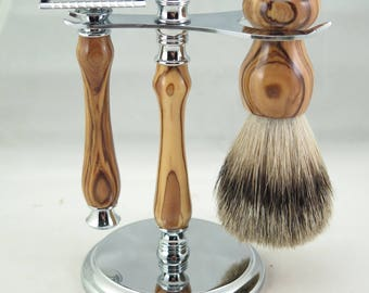 Holy Land Olivewood Shaving Set, You Choose! DE Safety Razor, Fusion, or Mach 3.