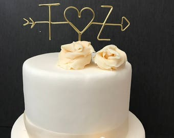 Wire Cake Topper - Wedding Cake Topper -  Arrow and Initials Cake Topper - Arrow Cake Topper - Personalized Cake Topper - Cake Topper