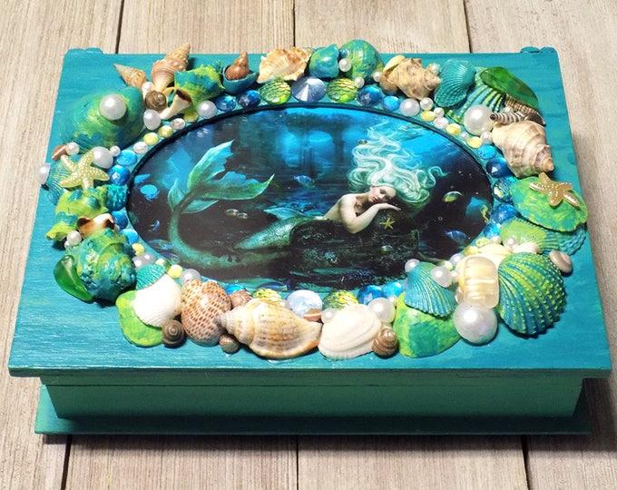 hand made seashell Mermaid trinket or jewelry box