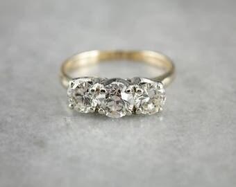 Old Mine Cut Diamond Gold Engagement Ring, Three Diamond Ring X6N9QF-P
