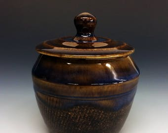 Porcelain Lidded Jar- Brown & Blue