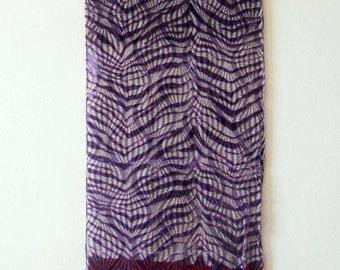 Vintage Silk Velvet Scarf Purple abstract design Women accessories