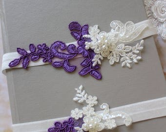 Purple  Bridal Garter , Wedding Garter, Lace garter ,  Vintage style Garter, Flower Garter ,Ivory  Garter , Stretch Lace Garter Set