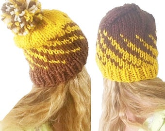 PATTERN: Gradient Spiral Beanie Fair Isle Hat Knitting Pattern, Easy Winter Hat Pattern, Beginner Knitter Chunky Knit Hat Team Colors Spiral