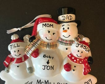 Expecting Pregnancy Personalized Christmas Ornaments / Family Ornament / Baby Bump / Pregnancy Ornament / Family of 4