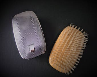 MEN'S VINTAGE HAIRBRUSH Set,Monogramable Chrome Hairbrushes,Valentine Gift for Men,Men's Accessories,Nylon Brushes,Nylon Wood and Chrome