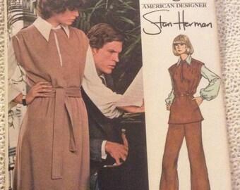 Very Easy Vogue Pattern 1083 Stan Herman Size 12 Misses Dress Blouse Tunic Pants Vintage Uncut Vogue Pattern