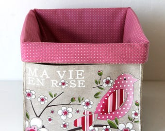 """Small basket square very soft / tidy natural linen lining of cotton and featuring """"my vie en rose"""""""