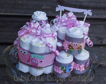 Owl Diaper Cake - Owl Diaper Cake Centerpiece - Owl Baby Shower Decorations - Pink and Gray Owl Baby Shower - Baby Girl Owl Baby Shower
