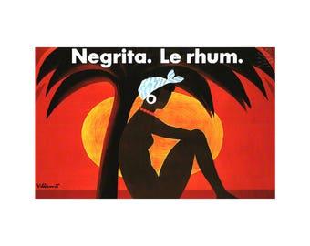 Negrita Le Rhum 1982 Villemot Art Vintage Poster Print Retro Art Palms Seaside Free US Post Low EU Post Buy 3 Get 1 Free