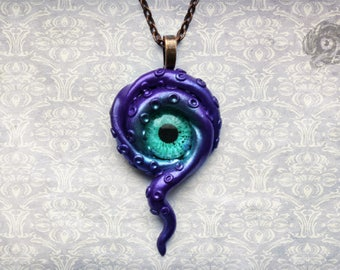 Steampunk Fantasy purple Kraken eye pendant // aqua green glass eye & polymer clay tentacles // Cthulhu Lovecraftian gift // Chain sold sep.
