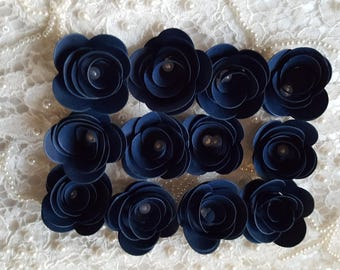 100 PAPER FLOWERS  Navy Blue With Pearl Centre