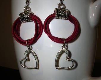 Red Suede Hoops/ Silver Heart Earrings