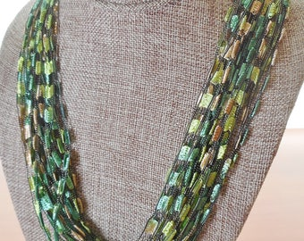 Trellis Scarf Necklace in Shades of Light Green and Cream (SKU 131)