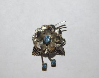 Flower Pin with Light Blue Stones