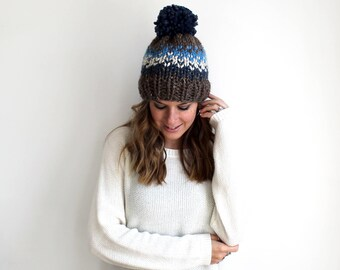Chunky Knit Slouchy Hat Pom Fair Isle- Ellicott Hat
