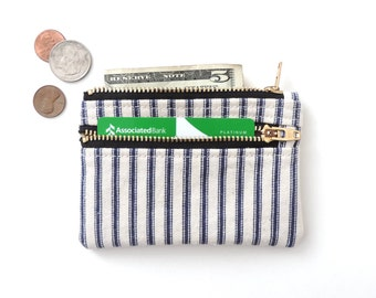 Slim Wallet Pouch Double Zipper Coin Purse Ticking Stripe