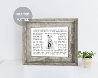 Custom Framed Song Lyric Print, First Anniversary Gift, Wedding Gift, Cool Gift Idea, Engagement Gift, Mother's Day Gift