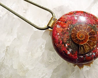 Powerful Orgone Pendant - Red Jasper/Pyrite/Ammonite - FREE WORLDWIDE SHIPPING!