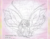 April the Thoughtful Fae Fairy Faery UNCOLORED Digital Stamp Coloring Page Craft Cardmaking Papercrafting DIY